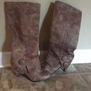 Taupe button knee boots